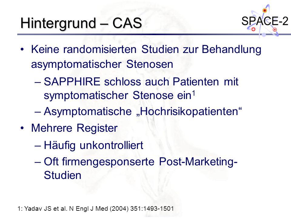 Hintergrund – CAS Keine randomisierten Studien zur Behandlung asymptomatischer Stenosen –SAPPHIRE schloss auch Patienten mit symptomatischer Stenose e