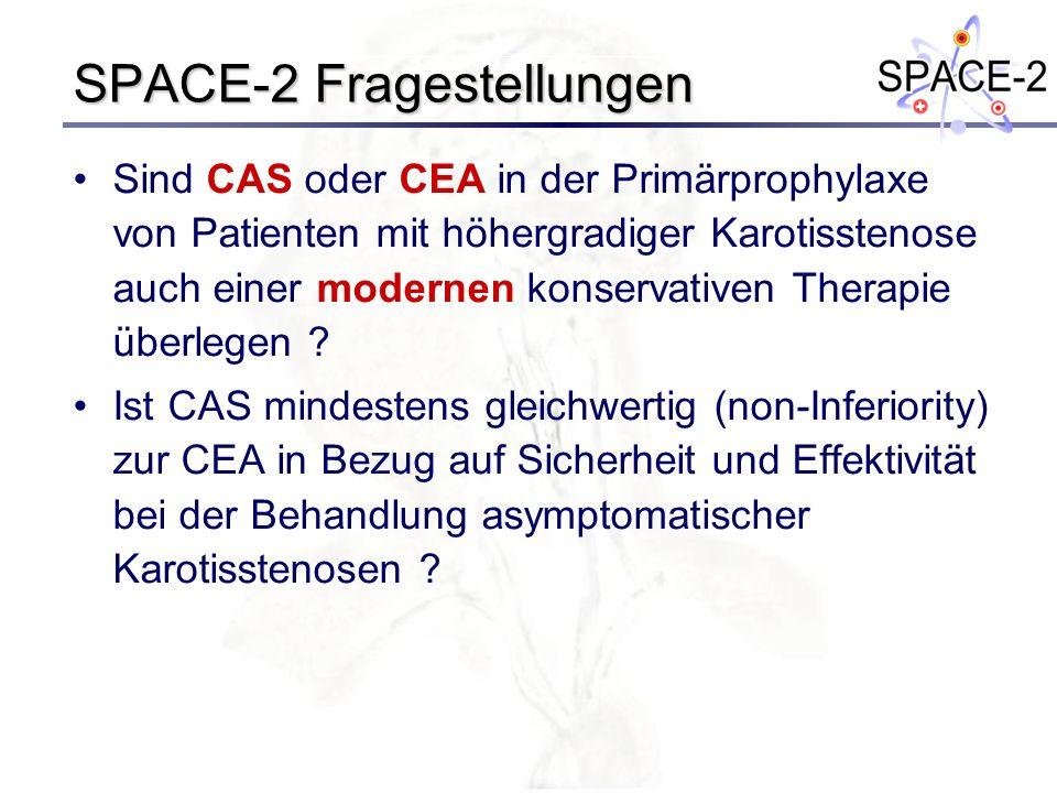 SPACE-2 Fragestellungen Sind CAS oder CEA in der Primärprophylaxe von Patienten mit höhergradiger Karotisstenose auch einer modernen konservativen The