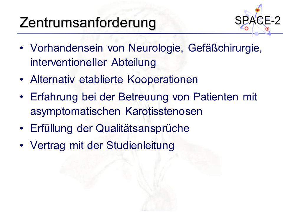 Zentrumsanforderung Vorhandensein von Neurologie, Gefäßchirurgie, interventioneller Abteilung Alternativ etablierte Kooperationen Erfahrung bei der Be