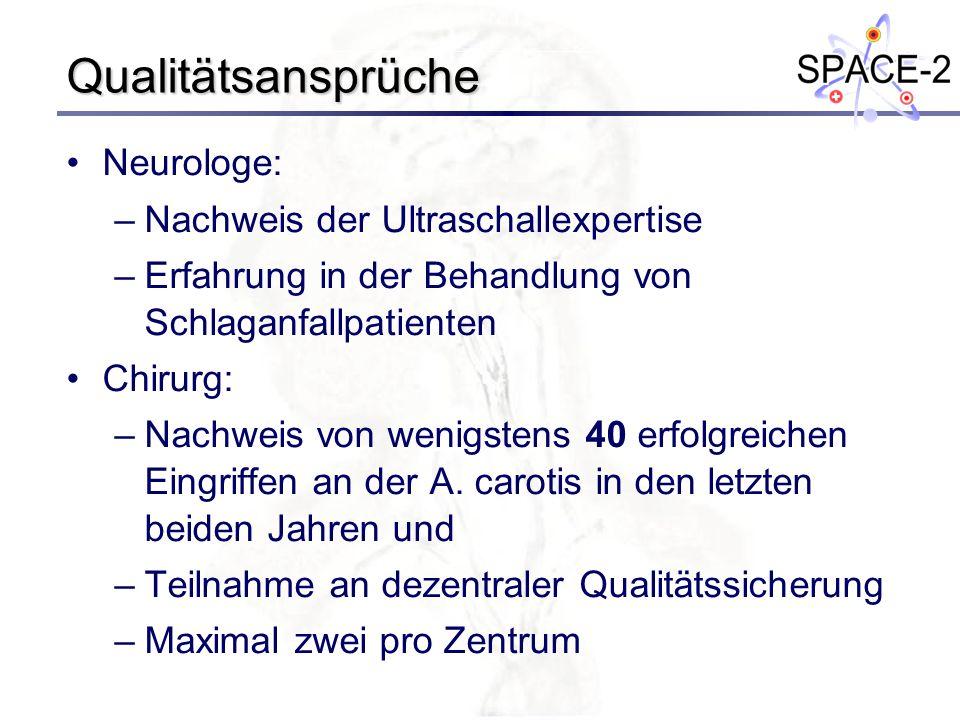 Qualitätsansprüche Neurologe: –Nachweis der Ultraschallexpertise –Erfahrung in der Behandlung von Schlaganfallpatienten Chirurg: –Nachweis von wenigst