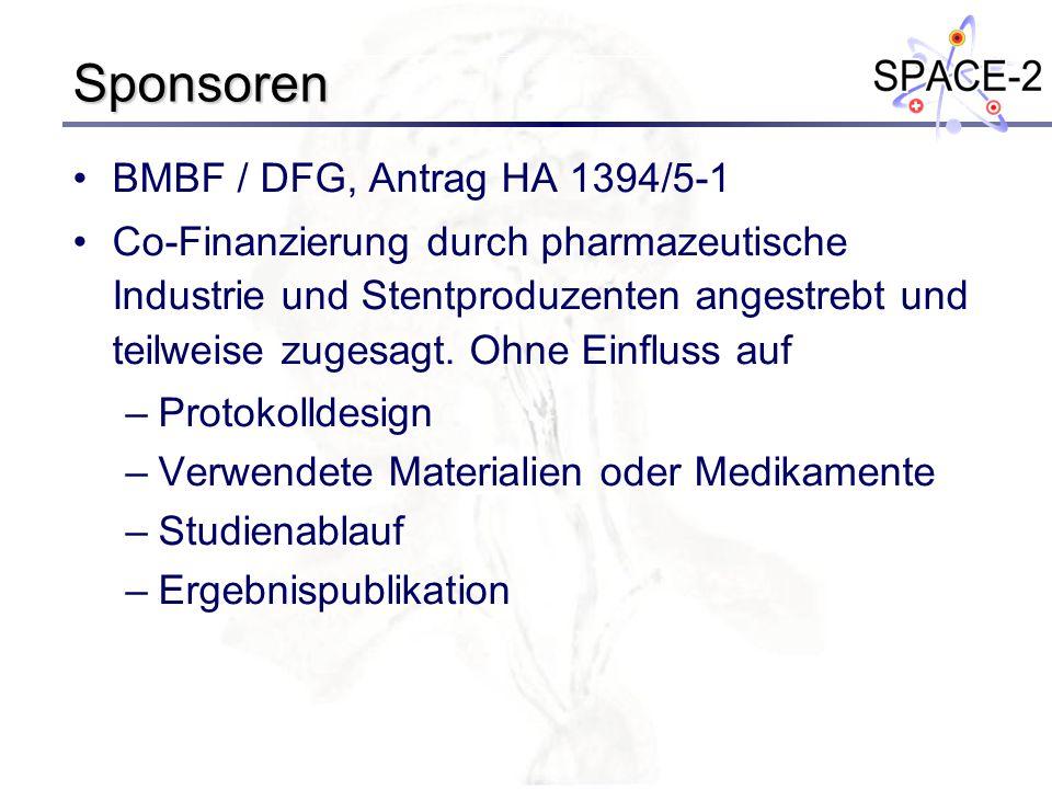 Sponsoren BMBF / DFG, Antrag HA 1394/5-1 Co-Finanzierung durch pharmazeutische Industrie und Stentproduzenten angestrebt und teilweise zugesagt. Ohne