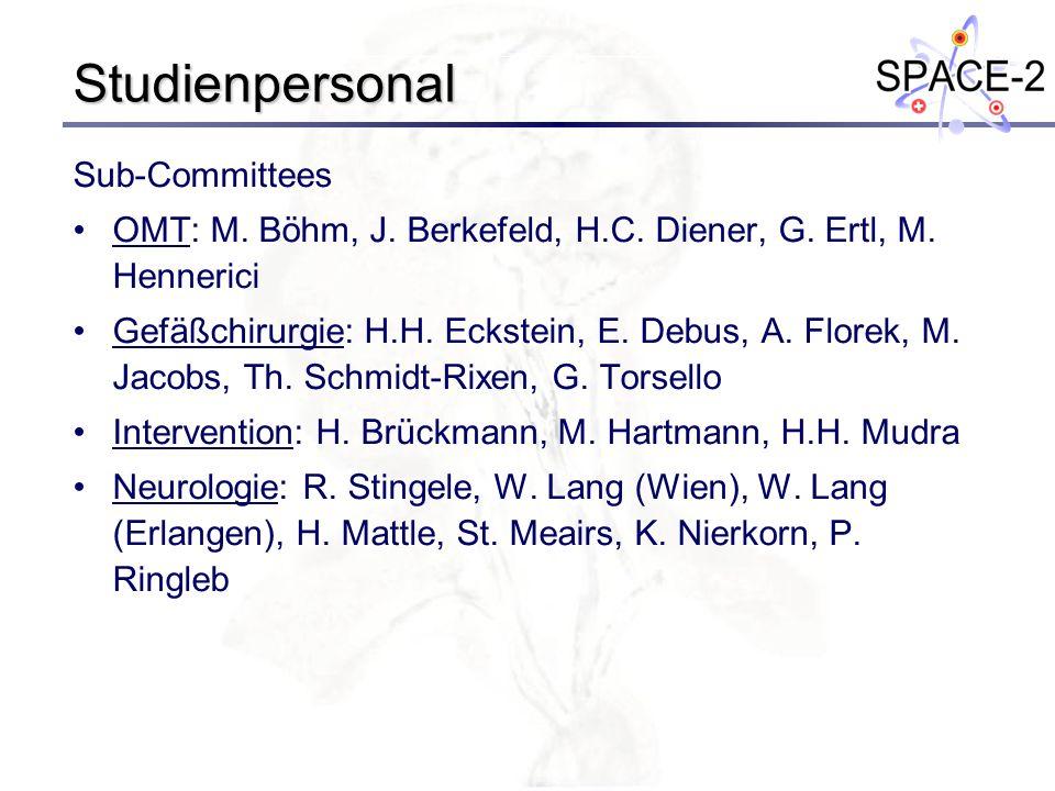 Studienpersonal Sub-Committees OMT: M. Böhm, J. Berkefeld, H.C. Diener, G. Ertl, M. Hennerici Gefäßchirurgie: H.H. Eckstein, E. Debus, A. Florek, M. J