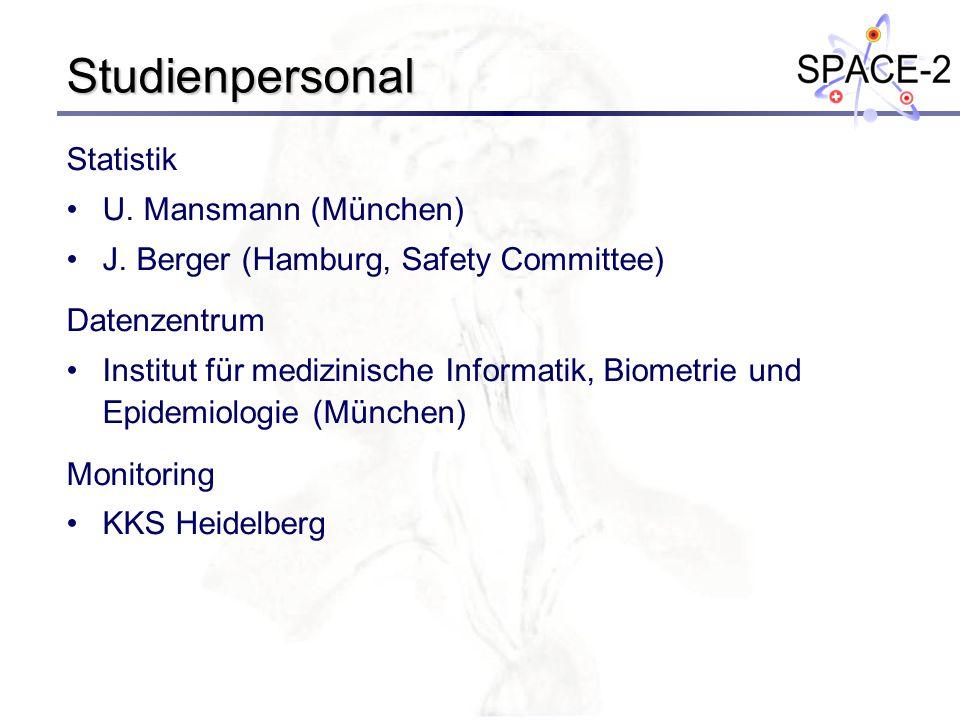 Studienpersonal Statistik U. Mansmann (München) J. Berger (Hamburg, Safety Committee) Datenzentrum Institut für medizinische Informatik, Biometrie und