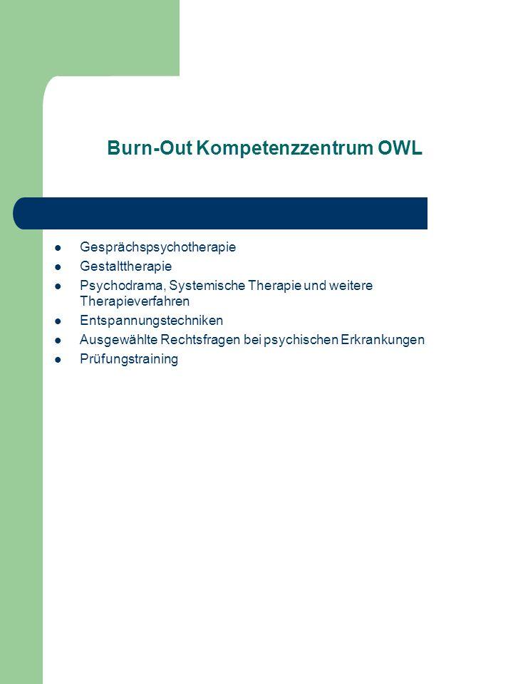 Burn-Out Kompetenzzentrum OWL Gesprächspsychotherapie Gestalttherapie Psychodrama, Systemische Therapie und weitere Therapieverfahren Entspannungstech