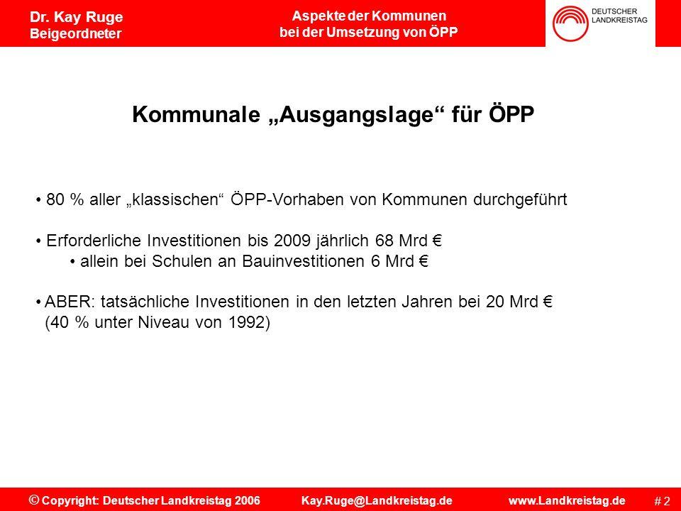 Aspekte der Kommunen bei der Umsetzung von ÖPP # 12 © Copyright: Deutscher Landkreistag 2006 Kay.Ruge@Landkreistag.de www.Landkreistag.de Dr.