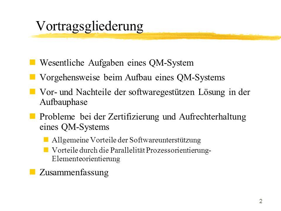 2 Vortragsgliederung Wesentliche Aufgaben eines QM-System Vorgehensweise beim Aufbau eines QM-Systems Vor- und Nachteile der softwaregestützen Lösung