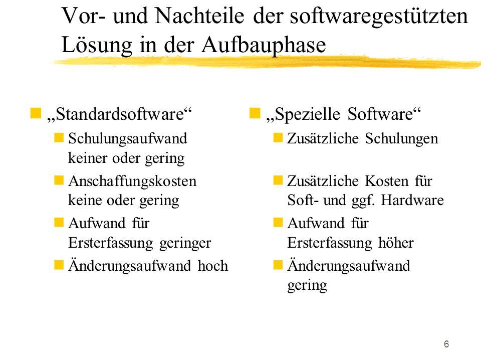 6 Standardsoftware Schulungsaufwand keiner oder gering Anschaffungskosten keine oder gering Aufwand für Ersterfassung geringer Änderungsaufwand hoch S
