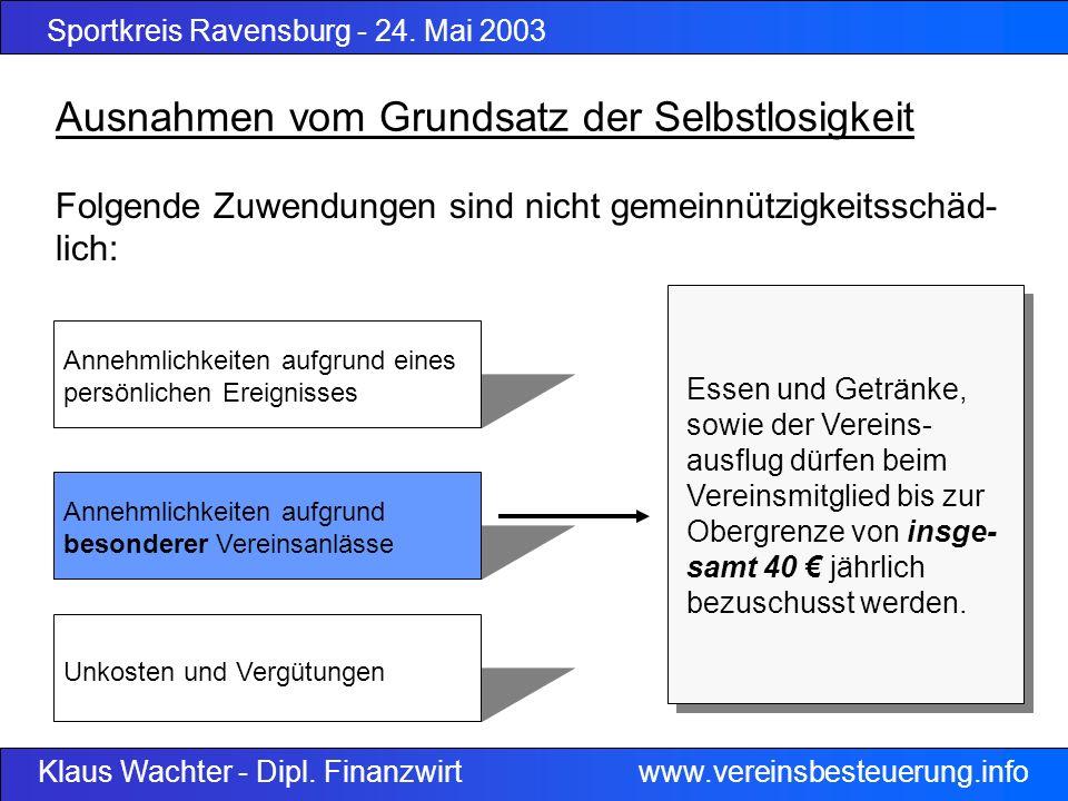 Sportkreis Ravensburg - 24. Mai 2003 Klaus Wachter - Dipl. Finanzwirt www.vereinsbesteuerung.info Folgende Zuwendungen sind nicht gemeinnützigkeitssch