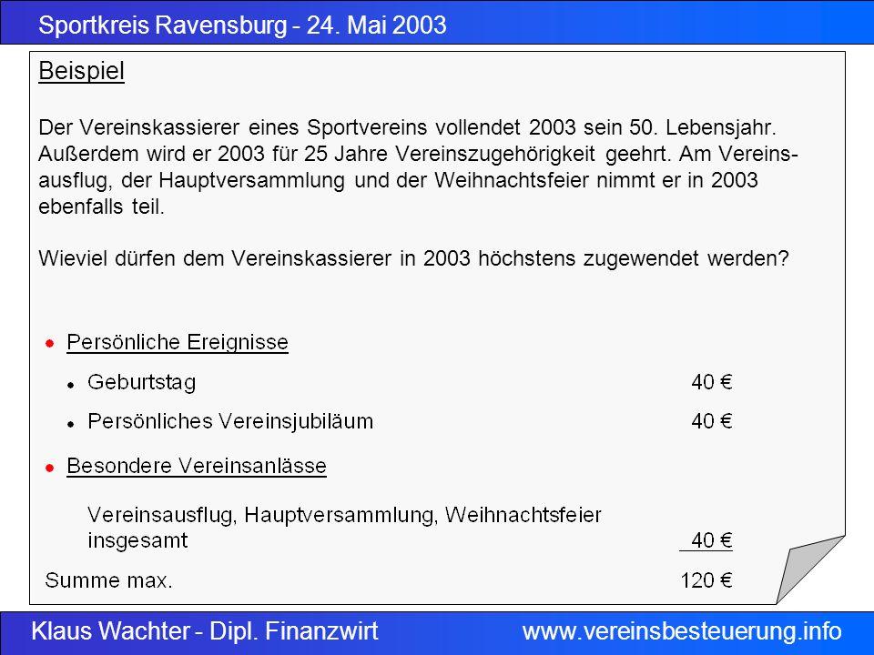 Sportkreis Ravensburg - 24. Mai 2003 Klaus Wachter - Dipl. Finanzwirt www.vereinsbesteuerung.info Beispiel Der Vereinskassierer eines Sportvereins vol
