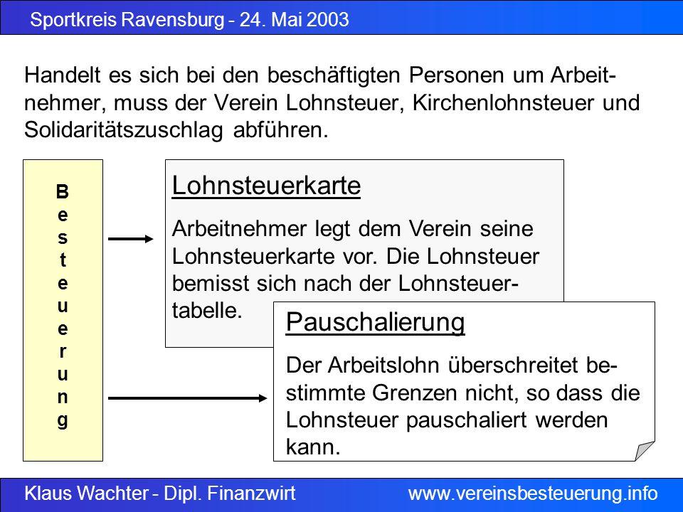 Sportkreis Ravensburg - 24. Mai 2003 Klaus Wachter - Dipl. Finanzwirt www.vereinsbesteuerung.info Lohnsteuerkarte Arbeitnehmer legt dem Verein seine L