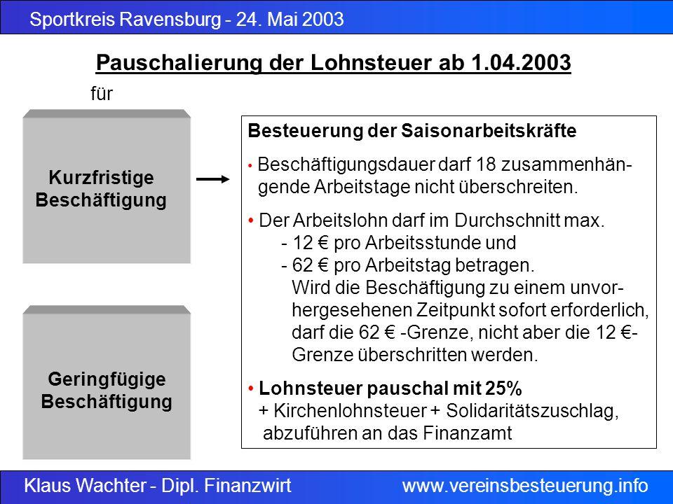 Sportkreis Ravensburg - 24. Mai 2003 Klaus Wachter - Dipl. Finanzwirt www.vereinsbesteuerung.info Besteuerung der Saisonarbeitskräfte Beschäftigungsda