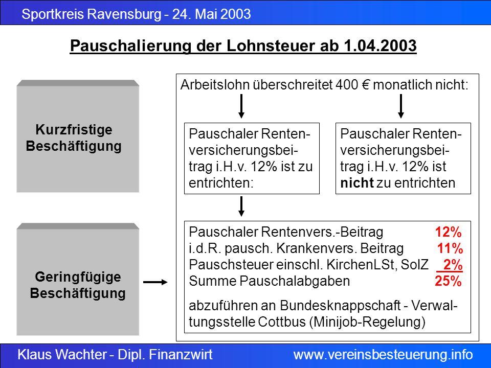Sportkreis Ravensburg - 24. Mai 2003 Klaus Wachter - Dipl. Finanzwirt www.vereinsbesteuerung.info Pauschalierung der Lohnsteuer ab 1.04.2003 Geringfüg