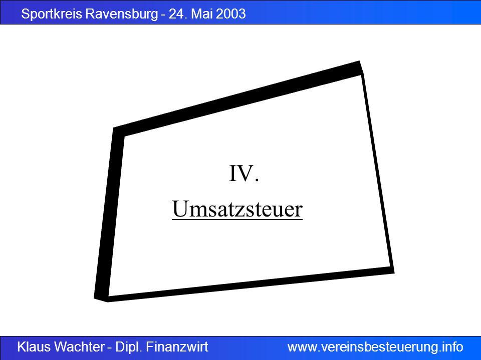 Sportkreis Ravensburg - 24. Mai 2003 Klaus Wachter - Dipl. Finanzwirt www.vereinsbesteuerung.info IV. Umsatzsteuer