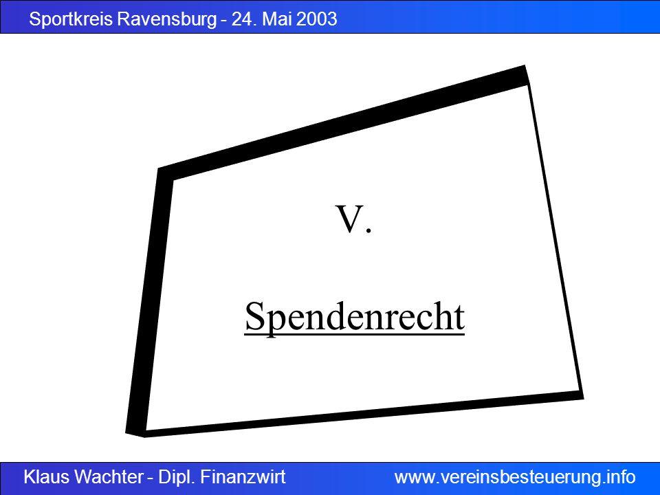 Sportkreis Ravensburg - 24. Mai 2003 Klaus Wachter - Dipl. Finanzwirt www.vereinsbesteuerung.info V. Spendenrecht