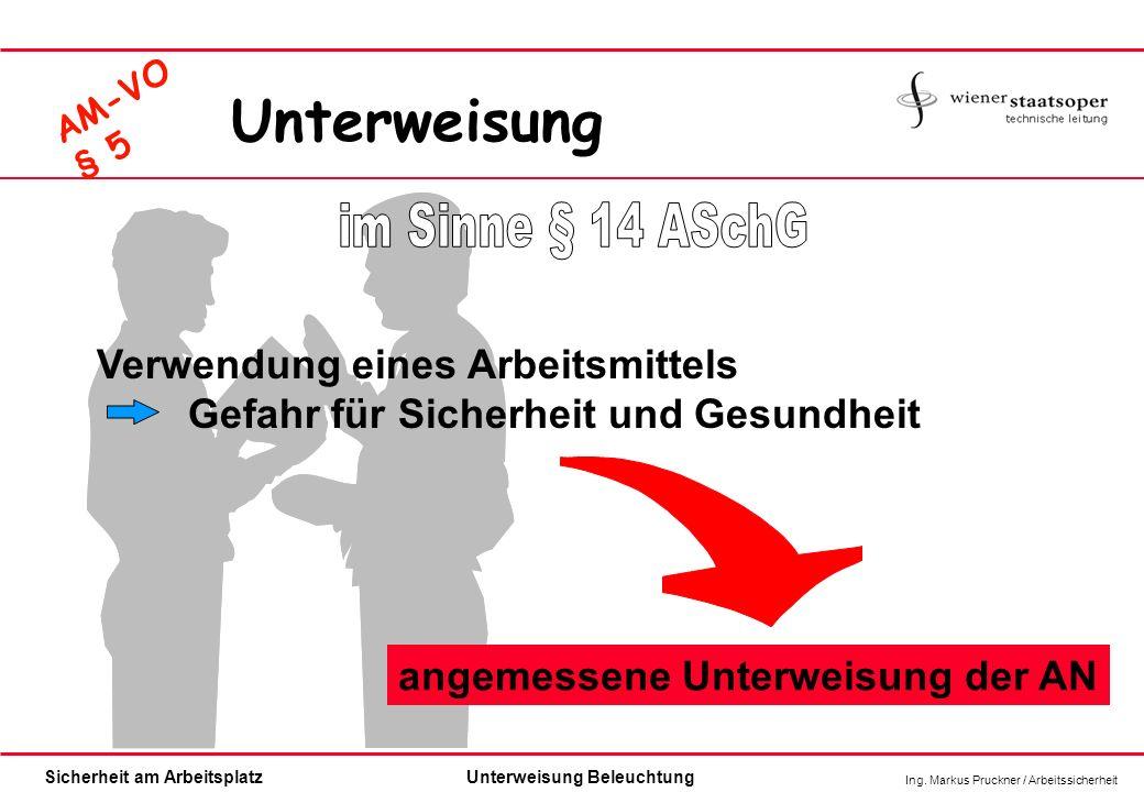 Ing. Markus Pruckner / Arbeitssicherheit Sicherheit am ArbeitsplatzUnterweisung Beleuchtung AM-VO § 5 Verwendung eines Arbeitsmittels Gefahr für Siche