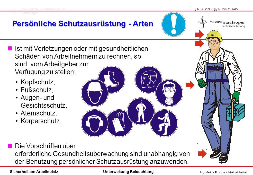 Ing. Markus Pruckner / Arbeitssicherheit Sicherheit am ArbeitsplatzUnterweisung Beleuchtung Ist mit Verletzungen oder mit gesundheitlichen Schäden von