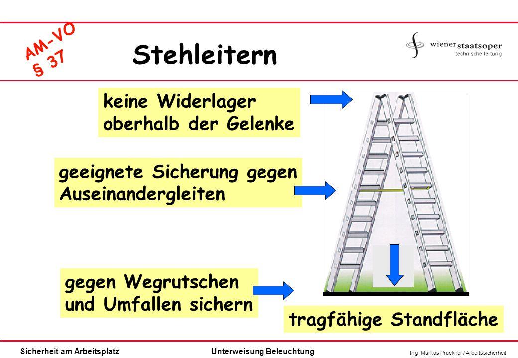 Ing. Markus Pruckner / Arbeitssicherheit Sicherheit am ArbeitsplatzUnterweisung Beleuchtung AM-VO § 37 gegen Wegrutschen und Umfallen sichern tragfähi