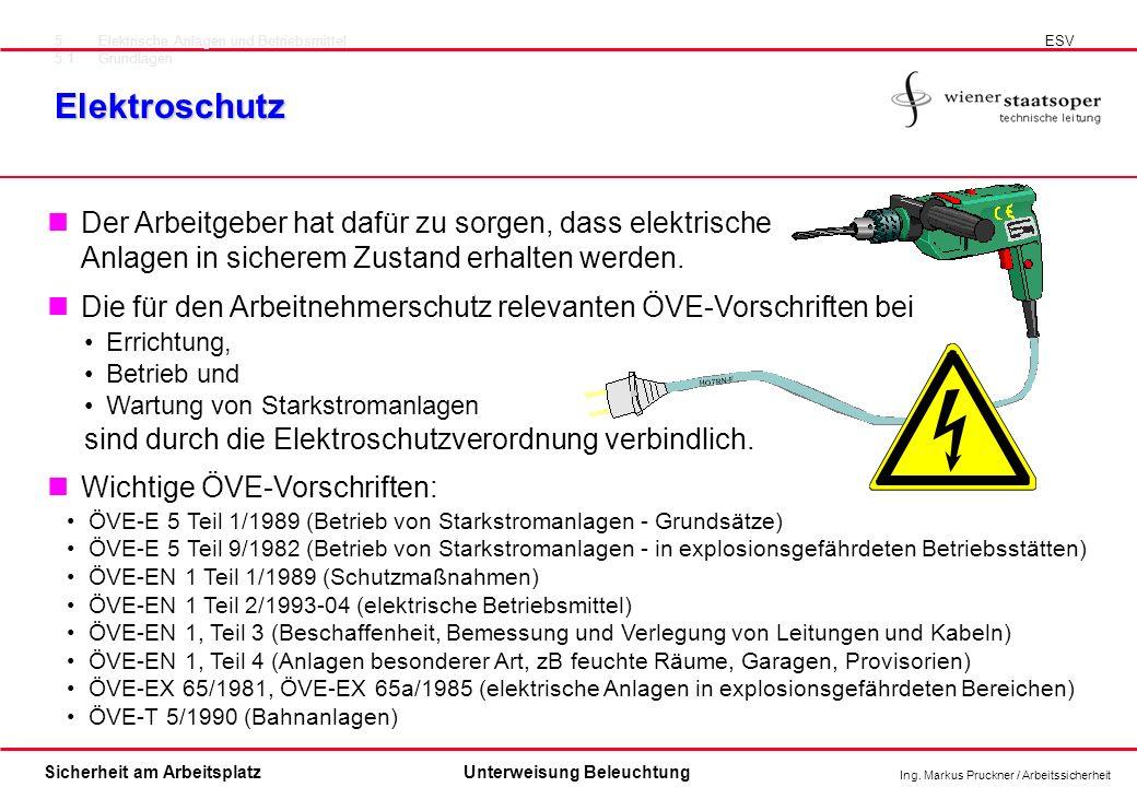 Ing. Markus Pruckner / Arbeitssicherheit Sicherheit am ArbeitsplatzUnterweisung Beleuchtung Elektroschutz 5Elektrische Anlagen und Betriebsmittel 5.1G