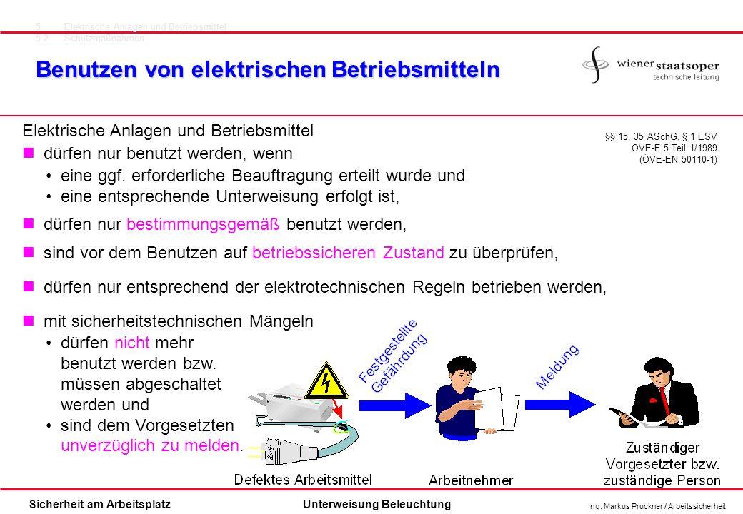 Ing. Markus Pruckner / Arbeitssicherheit Sicherheit am ArbeitsplatzUnterweisung Beleuchtung Benutzen von elektrischen Betriebsmitteln §§ 15, 35 ASchG,