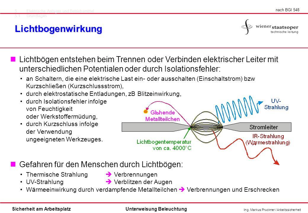 Ing. Markus Pruckner / Arbeitssicherheit Sicherheit am ArbeitsplatzUnterweisung Beleuchtung Lichtbogenwirkung 5Elektrische Anlagen und Betriebsmittel