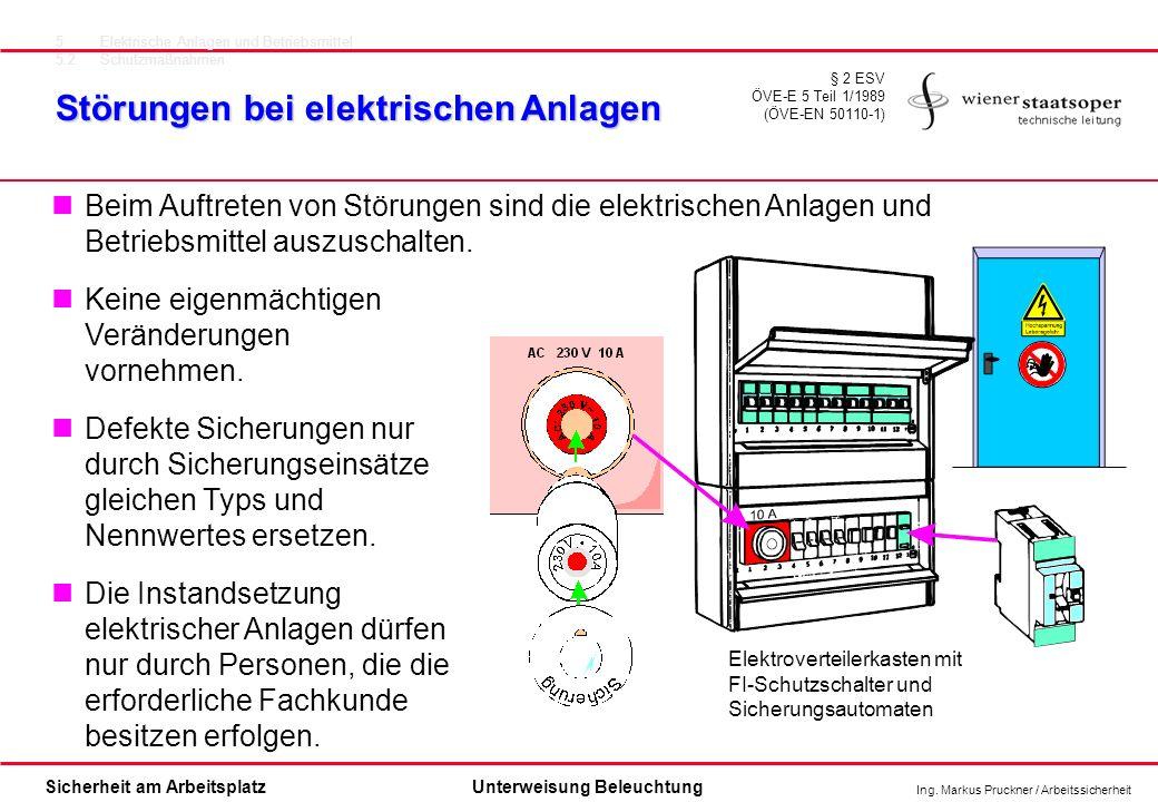 Ing. Markus Pruckner / Arbeitssicherheit Sicherheit am ArbeitsplatzUnterweisung Beleuchtung Störungen bei elektrischen Anlagen § 2 ESV ÖVE-E 5 Teil 1/