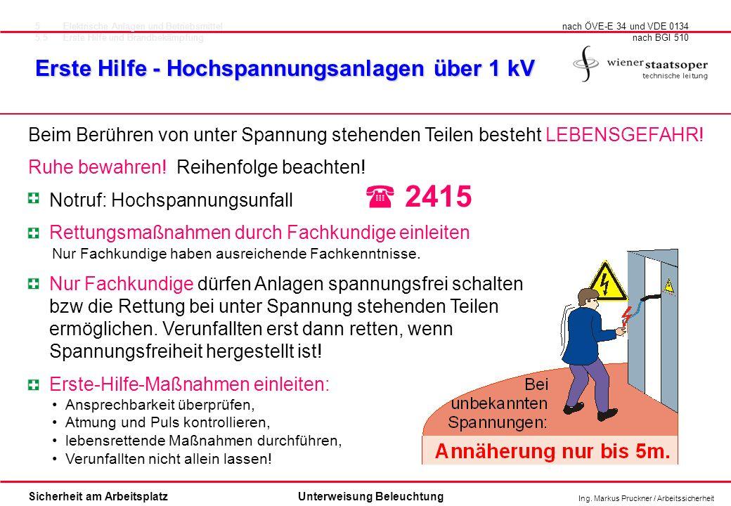 Ing. Markus Pruckner / Arbeitssicherheit Sicherheit am ArbeitsplatzUnterweisung Beleuchtung Erste Hilfe - Hochspannungsanlagen über 1 kV nach ÖVE-E 34
