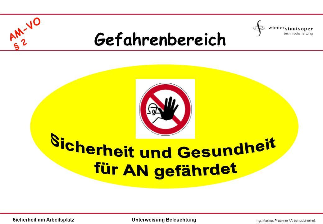 Ing. Markus Pruckner / Arbeitssicherheit Sicherheit am ArbeitsplatzUnterweisung Beleuchtung Gefahrenbereich AM-VO § 2