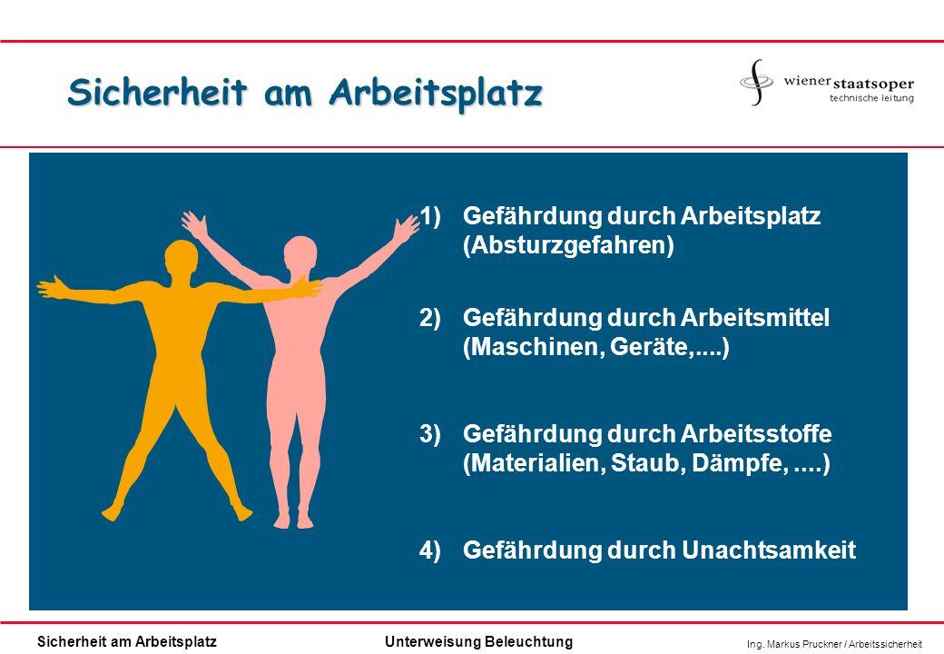 Ing. Markus Pruckner / Arbeitssicherheit Sicherheit am ArbeitsplatzUnterweisung Beleuchtung 1)Gefährdung durch Arbeitsplatz (Absturzgefahren) 2)Gefähr