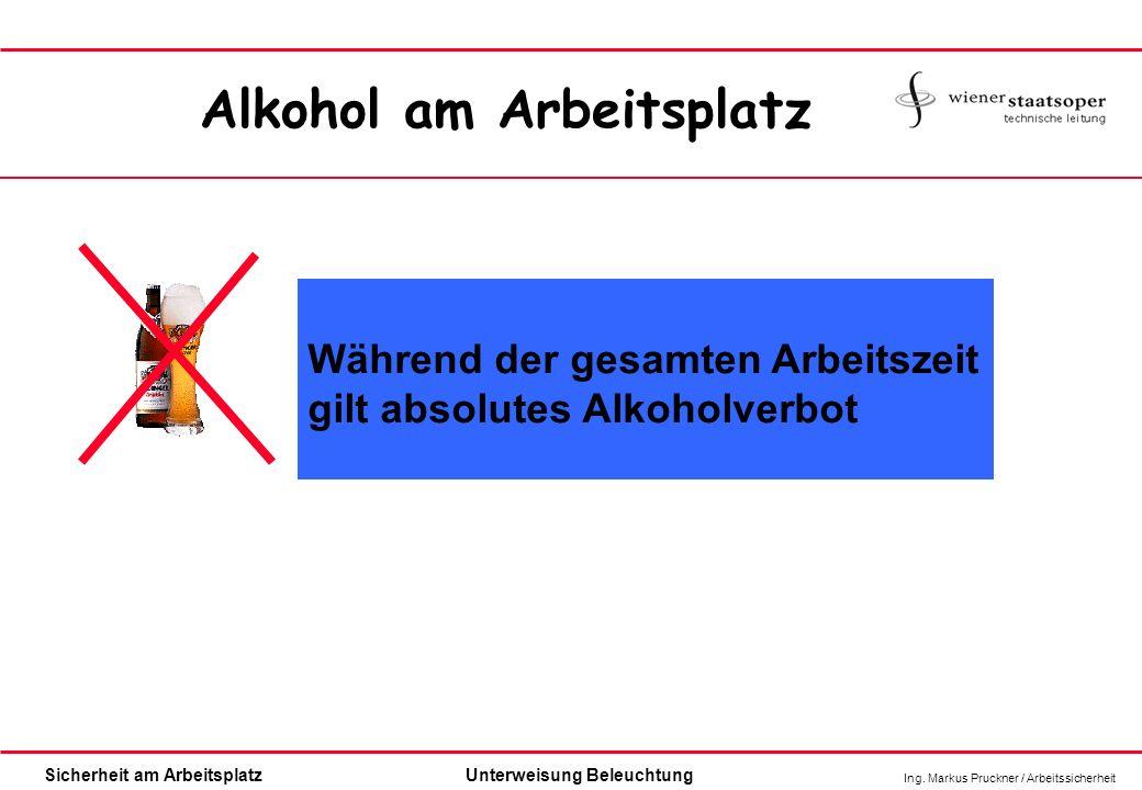 Ing. Markus Pruckner / Arbeitssicherheit Sicherheit am ArbeitsplatzUnterweisung Beleuchtung Während der gesamten Arbeitszeit gilt absolutes Alkoholver
