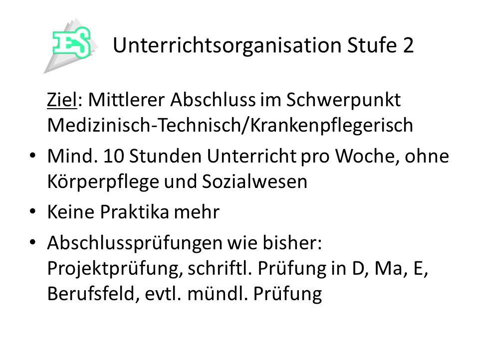 Unterrichtsorganisation Stufe 2 Ziel: Mittlerer Abschluss im Schwerpunkt Medizinisch-Technisch/Krankenpflegerisch Mind. 10 Stunden Unterricht pro Woch