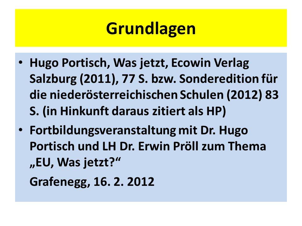 Grundlagen Hugo Portisch, Was jetzt, Ecowin Verlag Salzburg (2011), 77 S.