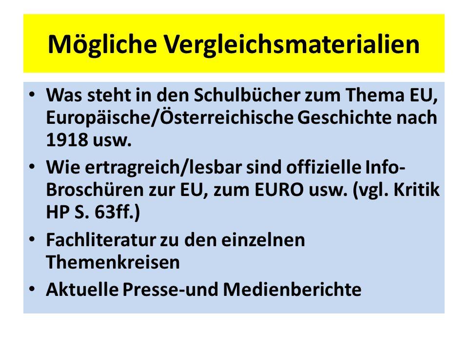 Mögliche Vergleichsmaterialien Was steht in den Schulbücher zum Thema EU, Europäische/Österreichische Geschichte nach 1918 usw.