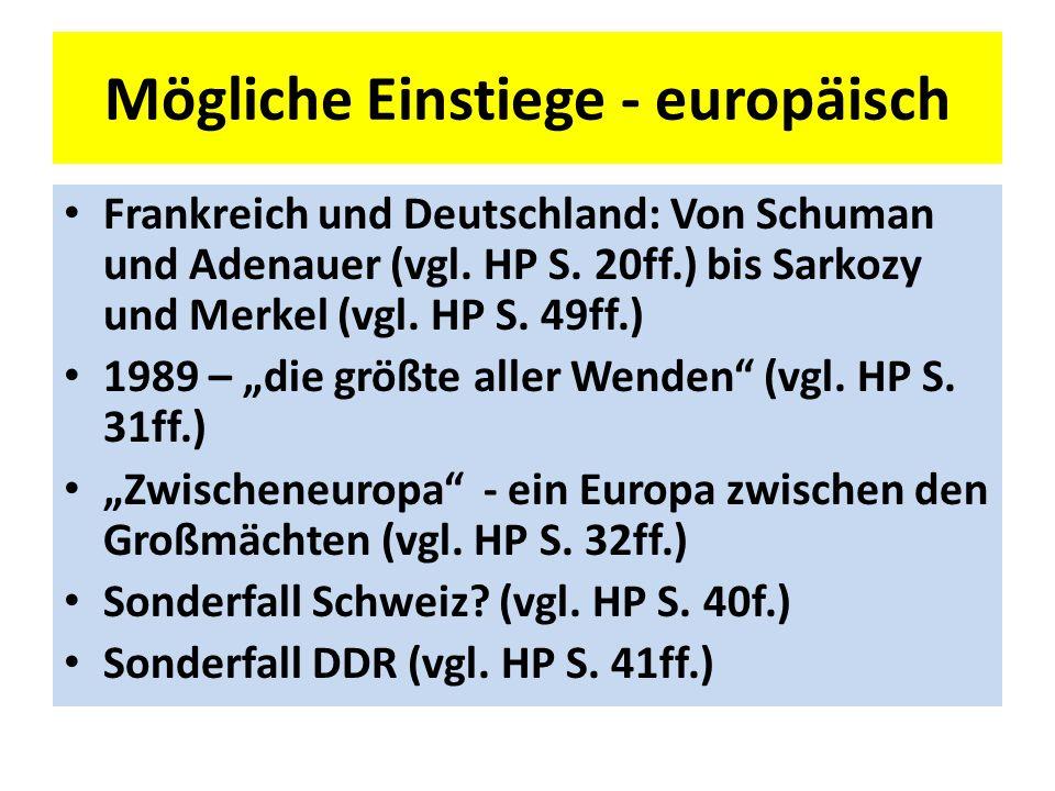 Mögliche Einstiege - europäisch Frankreich und Deutschland: Von Schuman und Adenauer (vgl.