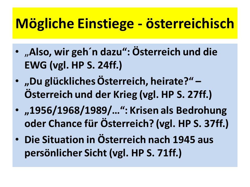 Mögliche Einstiege - österreichisch Also, wir geh´n dazu: Österreich und die EWG (vgl.