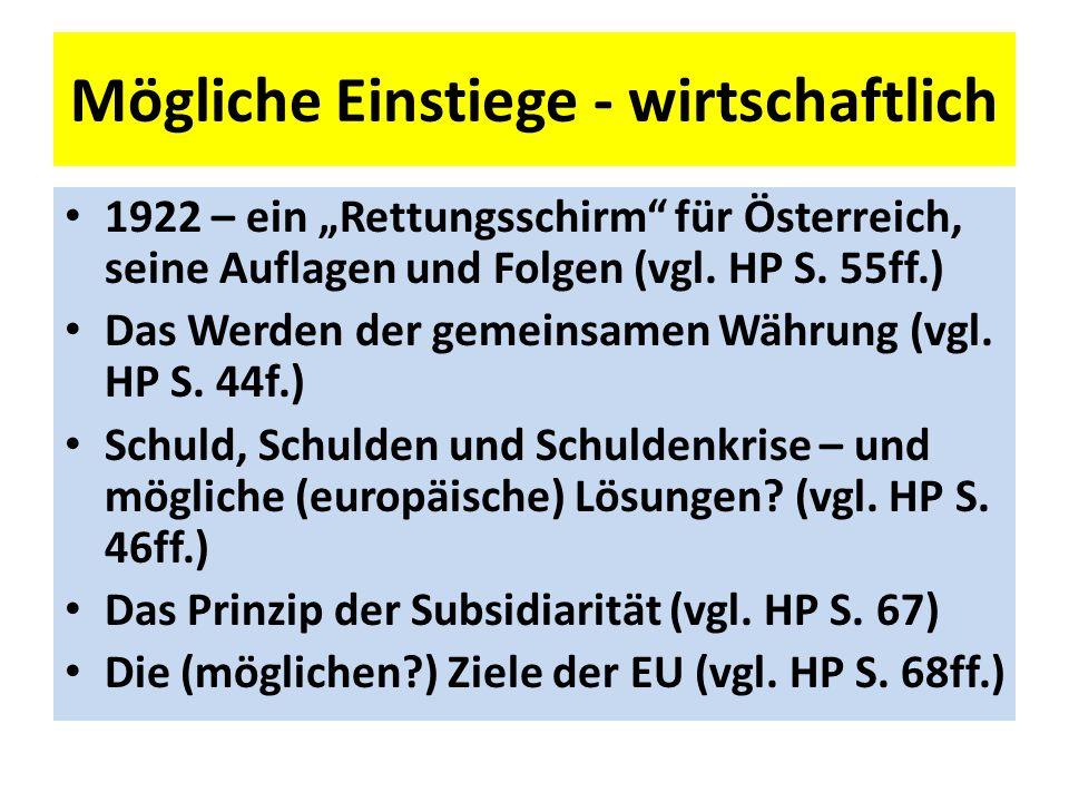 Mögliche Einstiege - wirtschaftlich 1922 – ein Rettungsschirm für Österreich, seine Auflagen und Folgen (vgl.