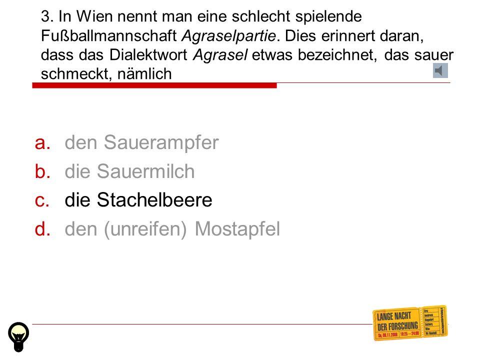 2. Welcher der folgenden Ausdrücke ist keine Bezeichnung für einen Schwips oder Alkoholrausch? Tschetschellein Affe Patzen Tschacko