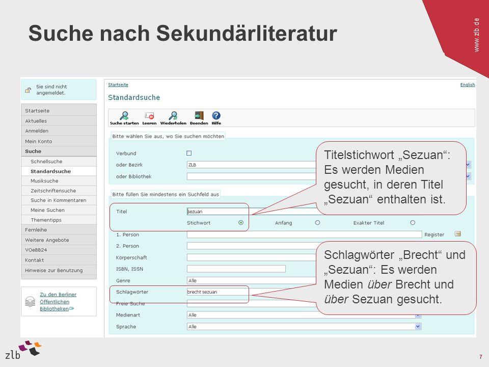 www.zlb.de 7 Suche nach Sekundärliteratur Titelstichwort Sezuan: Es werden Medien gesucht, in deren Titel Sezuan enthalten ist. Schlagwörter Brecht un