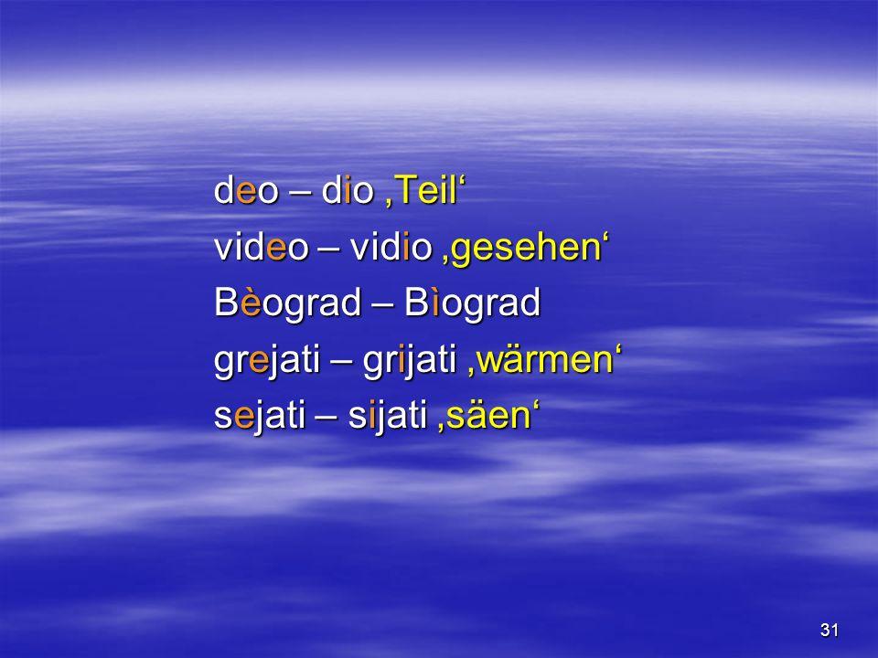 31 deo – dio Teil video – vidio gesehen Bèograd – Bìograd grejati – grijati wärmen sejati – sijati säen