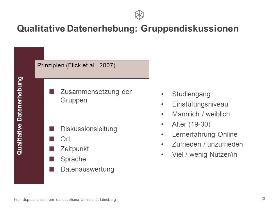12 Fremdsprachenzentrum der Leuphana Universität Lüneburg Übungen und Tests Quantitative Datenerhebung: Übungen und Tests