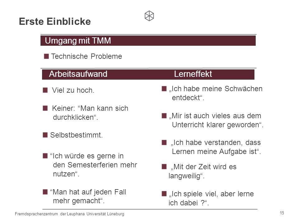 14 Fremdsprachenzentrum der Leuphana Universität Lüneburg TMM + Moodle + Kontaktstunden Leitfragen der Gruppendiskussionen Umgang mit TMM Umgang mit T