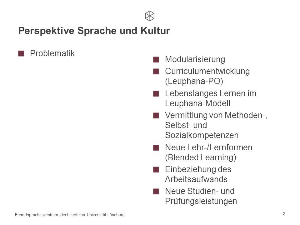 1 Fremdsprachenzentrum der Leuphana Universität Lüneburg Erprobung und Evaluierung des TMM ® CAMPUS Sprachenzentrum: die Perspektive Sprache und Kultu