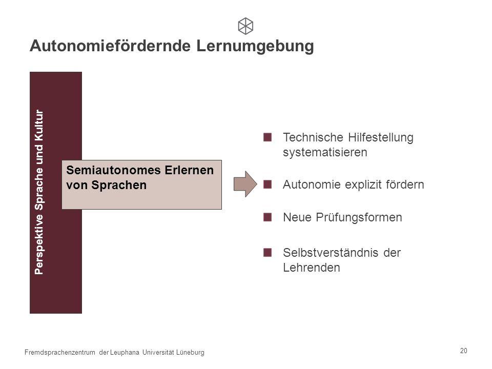 19 Fremdsprachenzentrum der Leuphana Universität Lüneburg Beschreibung der Lernumgebung durch die Studierenden
