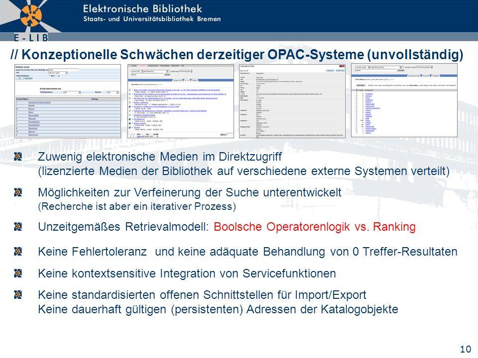 10 // Konzeptionelle Schwächen derzeitiger OPAC-Systeme (unvollständig) Zuwenig elektronische Medien im Direktzugriff (lizenzierte Medien der Biblioth