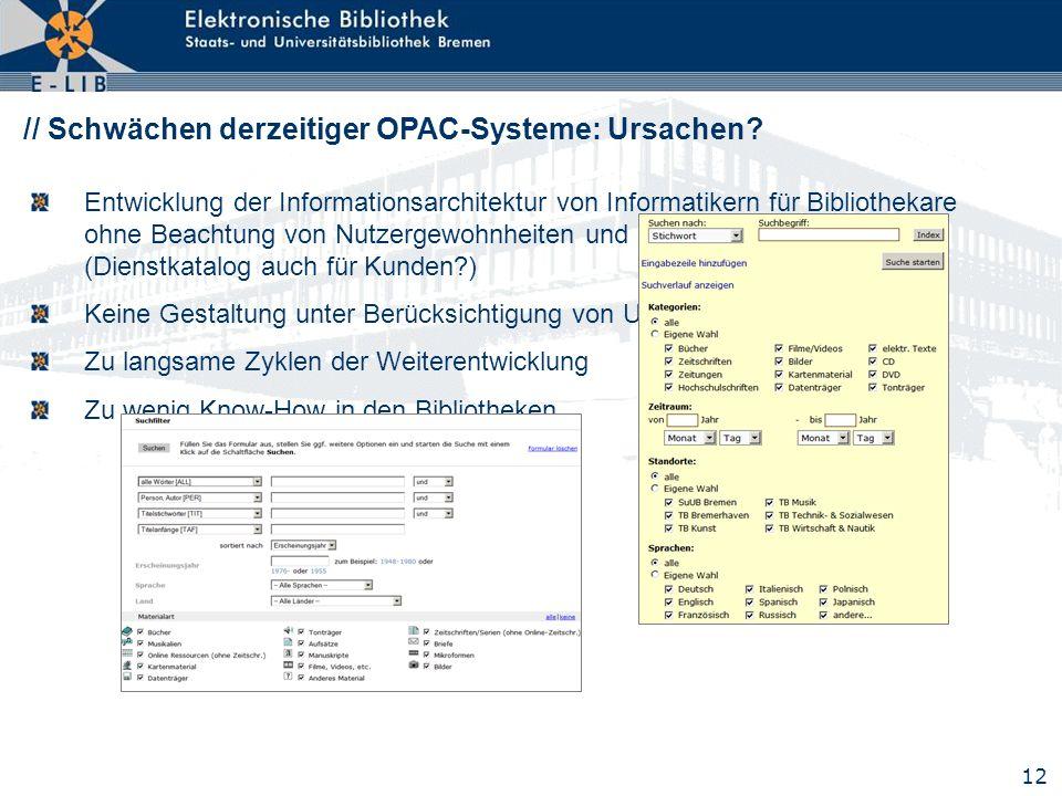 12 // Schwächen derzeitiger OPAC-Systeme: Ursachen? Entwicklung der Informationsarchitektur von Informatikern für Bibliothekare ohne Beachtung von Nut