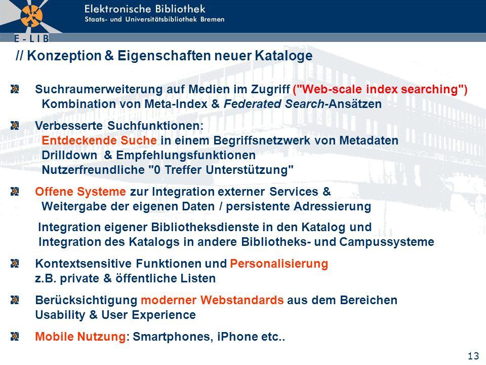 13 // Konzeption & Eigenschaften neuer Kataloge Suchraumerweiterung auf Medien im Zugriff (