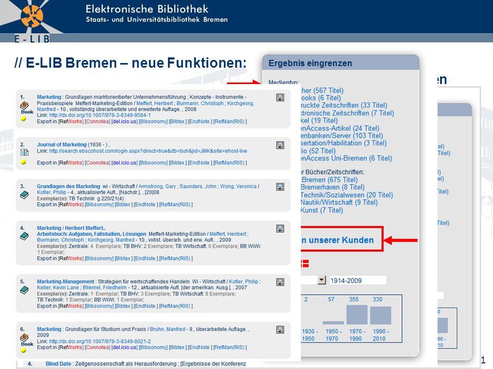 21 // E-LIB Bremen – neue Funktionen: Drill Down auf relevante Medien verengen