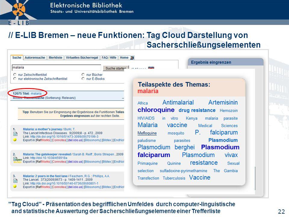 22 // E-LIB Bremen – neue Funktionen: Tag Cloud Darstellung von Sacherschließungselementen