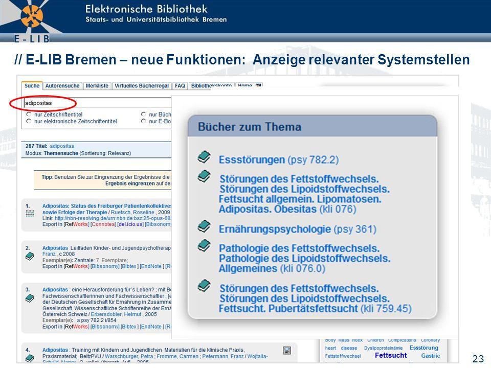 23 // E-LIB Bremen – neue Funktionen: Anzeige relevanter Systemstellen