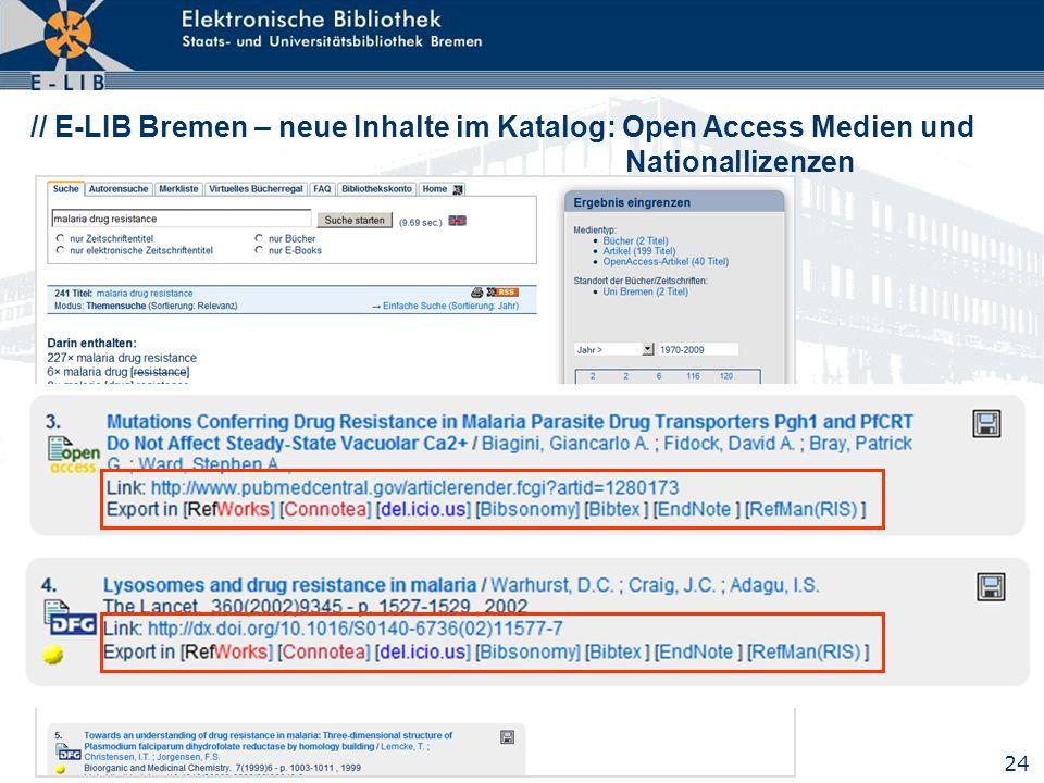 24 // E-LIB Bremen – neue Inhalte im Katalog: Open Access Medien und Nationallizenzen