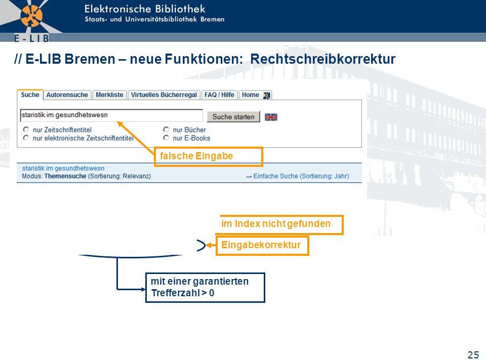 25 // E-LIB Bremen – neue Funktionen: Rechtschreibkorrektur falsche Eingabe im Index nicht gefundenEingabekorrektur mit einer garantierten Trefferzahl